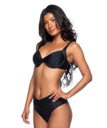 Black folding bikini with draped effect and balconette top - SUSTENTACAO PRETO
