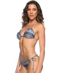 Scrunch Brazilian bikini in ethnic blue - TODEM