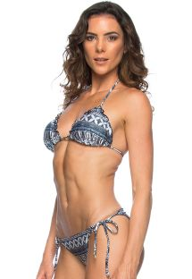 Scrunch Brazilian bikini in ethnic blue - TODEM