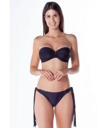 Bikini bandeau noir détails lanières et macramé - TQC MACRAME PRETO