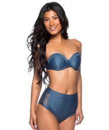 Dark blue high-waisted bandeau bikini with braided details - TQC TRESSE ELEGANCE