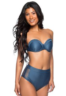 Dark blue high-waisted bandeau bikini with braided details - TQC TRESSE ELEGANCE