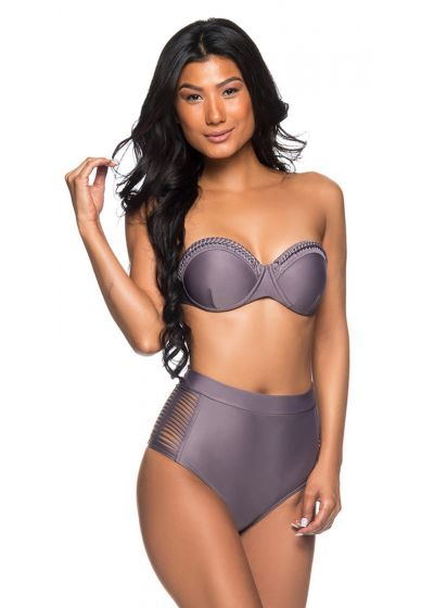 Grey high-waisted bikini with laced sides and bandeau top - TQC TRESSE VINTAGE