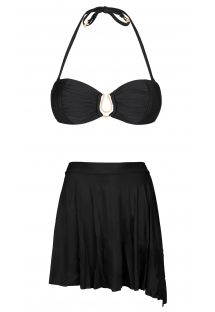 Etek efektli alt ve bandeau üst siyah bikini - TRACIE