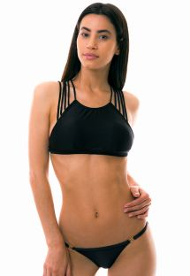 Black crop top bikini with multi-striped back - TRECHOS DE AREIA