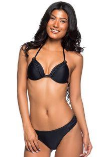 Bikini brasiliano nero con ricamo - TRESSE PRETO