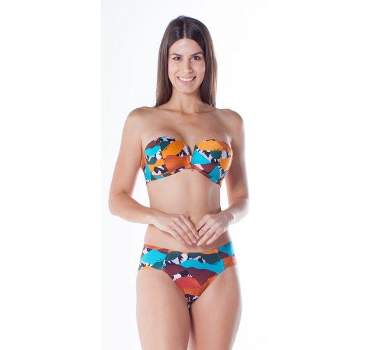 Printed bandeau bikini with zipper and folding wide sides - ZIPER DUNAS