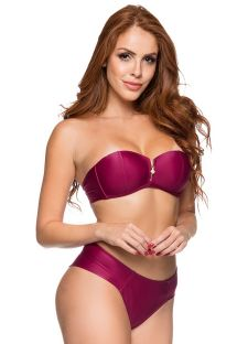 Cherry red bandeau bikini with a zipper - ZIPPER CERISIER
