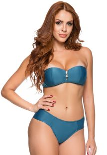 Dark blue larger side cheeky bikini with bandeau top - ZIPPER ELEGANCE