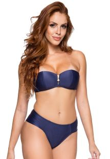 Bandeau bikini with cheeky bottom in dark blue - ZIPPER NEW YORK