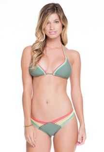 Strappy kaki scrunch bikini, colourful ties  - AGATA