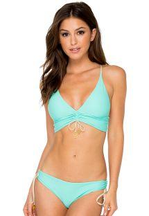 Reversible turquoise green/gold halter bikini - AGUA DULCE REVERSIBLE