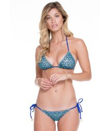 Blue, embellished, two-material srunch bikini - AGUA MARINHA