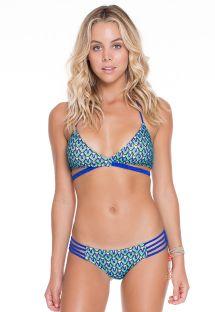 Голубое бикини с треугольными чашечками, перекрестом и плетенными ремешками - BLUE KISS