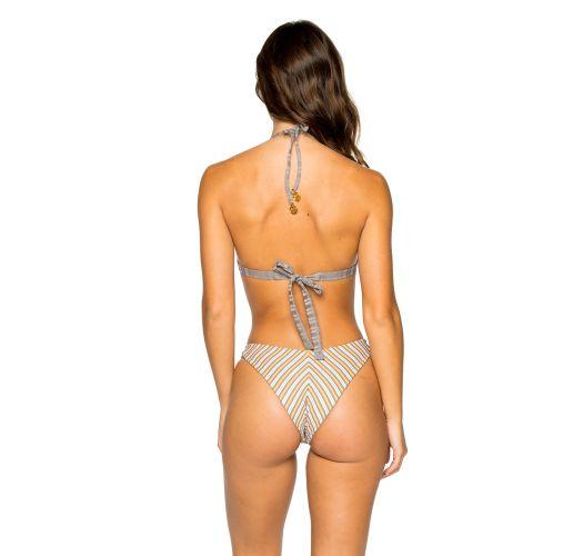Reversible grey / stripped  high-leg triangle bikini - BRAZILIAN TORRE DE ORO