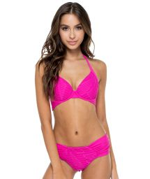 Pink textured push up bikini with laced back - CARNAVAL PINK FUCHSIA