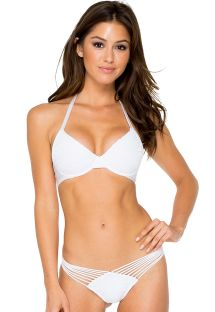 Bikini con braguita de tiras y top push-up blanco - CARNAVAL WHITE
