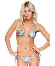Multicoloured Brazilian scrunch bikini with rhinestones - CAYO CRYSTALLIZED