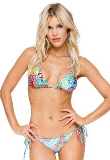 Multicoloured Brazilian scrunch bikini with rhinestones - CAYO CRYSTALLIZED