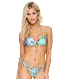 Colourful push-up bikini with strappy bottom and rhinestones - CAYO HUESO CRYSTALLIZED