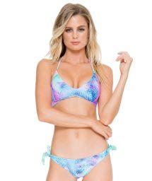 Reversible palm tree sports bra bikini with lace-up back - CAYO REVERSIBLE PALMERAS