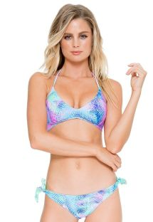 Reversible palm tree sports bra bikini with lace-up back - CAYO REVERSIBLE PALMERAS