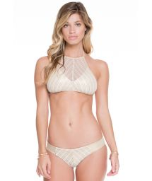 Shiny gold/white mesh bikini crop top - CLEOPATRA