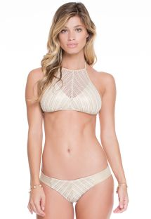 Bikini con crop top, in bianco e dorato - CLEOPATRA