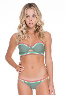 Bikini tipo balconnet color caqui, parte baja con lazos en colores - COLISEU