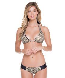 Black/gold mesh halterneck bikini - DESERT