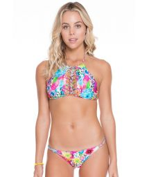 Braided, multicolour, floral bikini crop-top - ESMERALDA