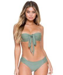 Khaki multiposition padded bandeau bikini - FAMA MULTIWAY ARMED