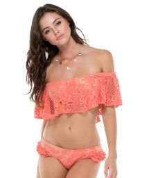 Coral and gold dual material bandeau bikini with frills - GUAGUANCO RUFFLE