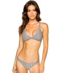 Vändbar, skrynklad bikini i bh-modell, texturerad, randig/grå - HALTER TORRE DE ORO