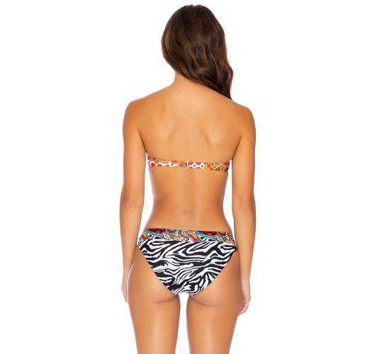 Reversible colorful / zebra bikini with a bandeau push-up top - HEARTBREAKER FULL MULTICOLOR