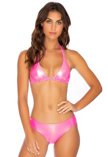 Metallic fluorescent pink scrunch bikini with halter top - HEAVY METAL FULL NEON PINK