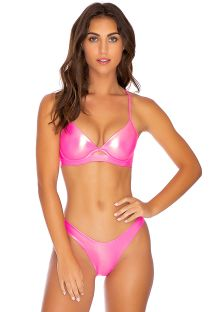Metallic fluorescent pink balconette bikini with laced back - HEAVY METAL HIGH NEON PINK