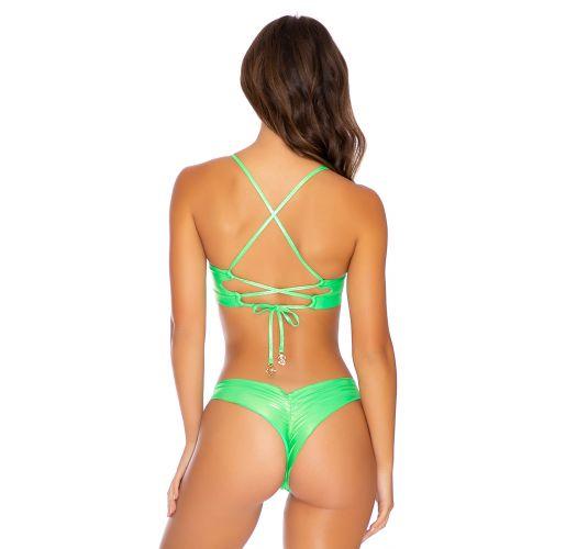 Metallic fluorescent green balconette bikini with laced back - HEAVY METAL WAVY NEON LIME