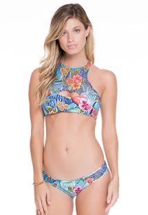 Ters yüz edibilir çıçek desenlimarkası bağlaşa geçişlicrop top bikini - INDICO