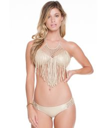 Gold crop-top bikini with frills and macramé - IRIS