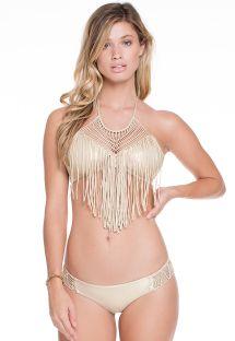 Bikini crop top doré à franges et macramé - IRIS