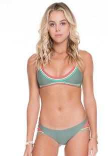 Bikini typu stringi, paseczki koloru kaki, góra typu koszulka - JADE