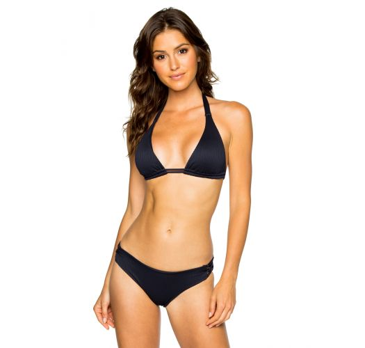 Triangle black halter bikini with fixed bottom - LACE MAR COSTA DEL SOL