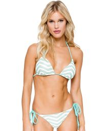 Brazilian  scrunchbikini bi-fabric pale green - MALECON BRAIDED GREEN