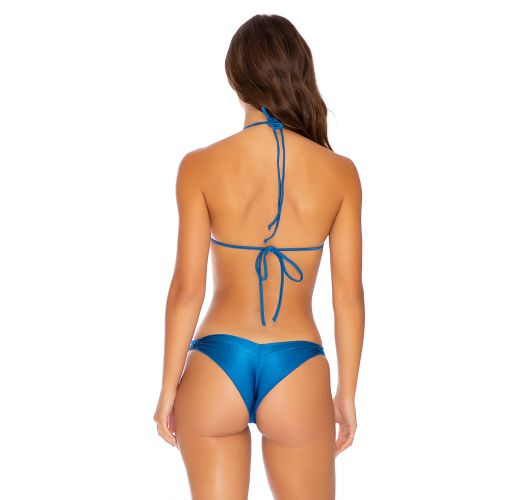 Blue strappy scrunch bikini with laced push-up top - MAMBO STRAPPY BLUE