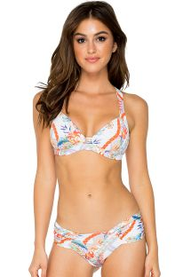 Bikini de top push-up blanco con estampadao colorido - MERENGUITO