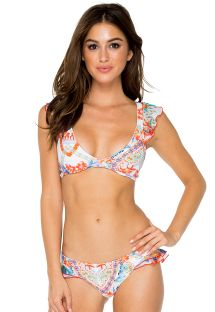 Bikini con Braguita blanca con volant y estampado colorido - MERENGUITO RUFFLE