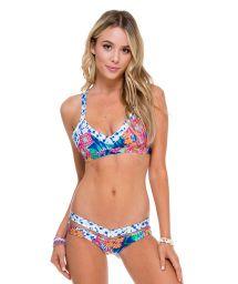 Tie-dye print mix, sport bra style bikini - MESS TIE DYE