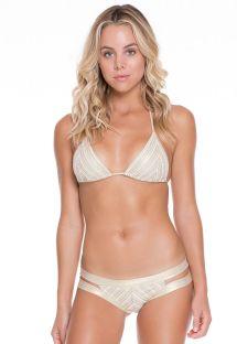 Kulta-valkoinen kiiltävä bikini, kurkistusaukot - NEFERTITI