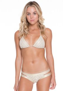 Bikini strappy blanc/doré irisé en maille - NEFERTITI